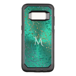 Monogram Metallic Green with Sparkling Music Notes OtterBox Commuter Samsung Galaxy S8 Case