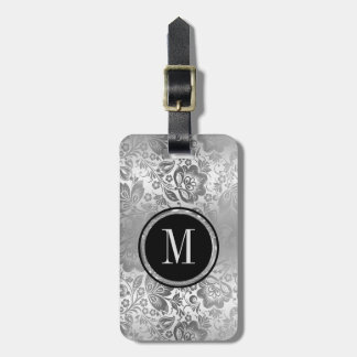 Monogram Metallic Silver Damask Luggage Tag