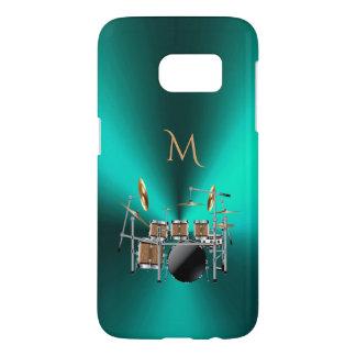 Monogram Metallic Teal Drums Music Galaxy S7 Case