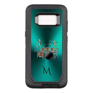 Monogram Metallic Teal Drums Music Galaxy S8 Case