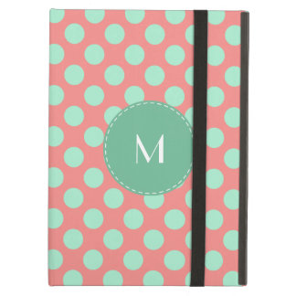 Monogram Mint Green and Pink Polka Dot Pattern Cover For iPad Air