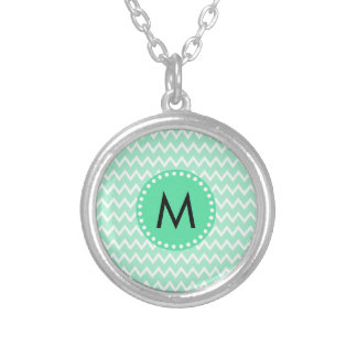 Monogram Mint Green and White Chevron Pattern Round Pendant Necklace