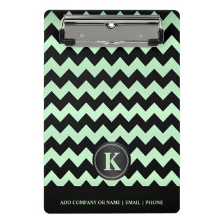Monogram  Mint Green & Black Chevron Stripes Mini Clipboard