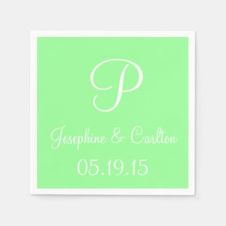 Monogram Mint Green High End Color Coordinating Disposable Napkin