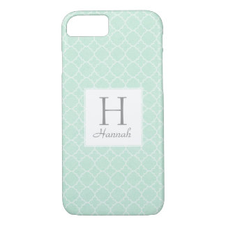 Monogram Mint Green Pattern Elegant Quatrefoil iPhone 8/7 Case