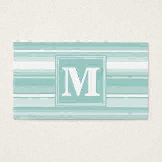 Monogram mint green stripes business card