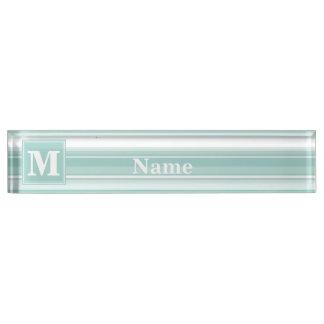 Monogram mint green stripes desk name plates