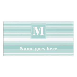 Monogram mint green stripes door sign