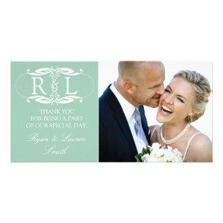 Monogram Mint Wedding Photo Thank You Cards Personalised Photo Card