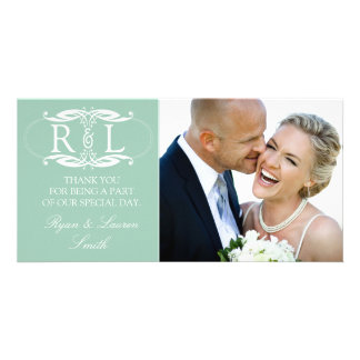 Monogram Mint Wedding Photo Thank You Cards Customized Photo Card