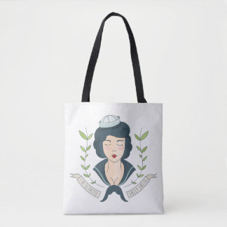 Monogram. Miss Navy Tattoo. I Be So Pretty. Tote Bag