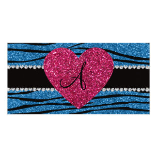 Monogram misty blue glitter zebra stripes heart personalised photo card