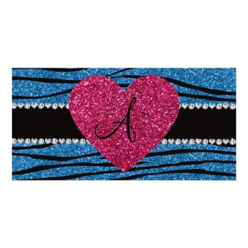 Monogram misty blue glitter zebra stripes heart photo card template