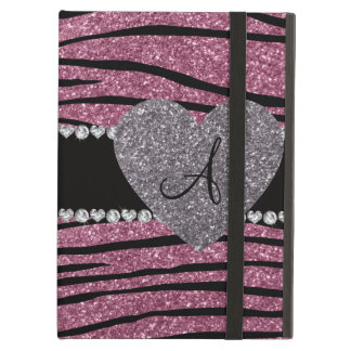Monogram misty pink glitter zebra stripes heart iPad air case