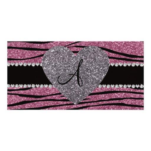 Monogram misty pink glitter zebra stripes heart customized photo card
