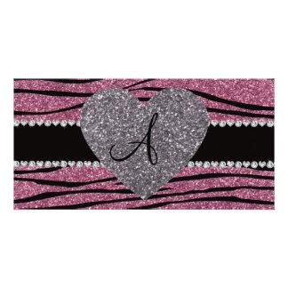Monogram misty pink glitter zebra stripes heart picture card