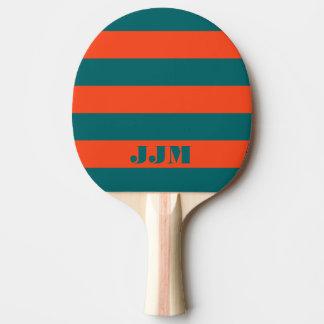 Monogram Modern Aqua Blue, Orange Coral Stripe Ping Pong Paddle