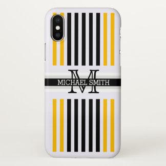 Monogram Modern Black Amber Stripes Pattern iPhone X Case