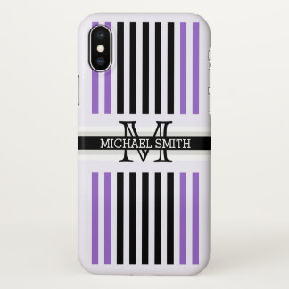 Monogram Modern Black Amethyst Stripes Pattern iPhone X Case