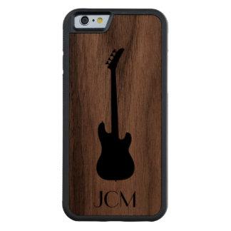 Monogram Modern Black Bass Guitar Carved Walnut iPhone 6 Bumper Case