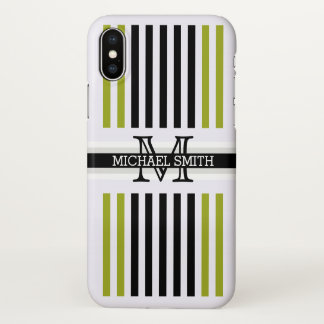 Monogram Modern Black Citron Stripes Pattern iPhone X Case