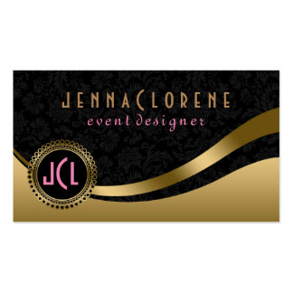 Monogram Modern Black & Gold Dynamic Lines Pack Of Standard Business Cards