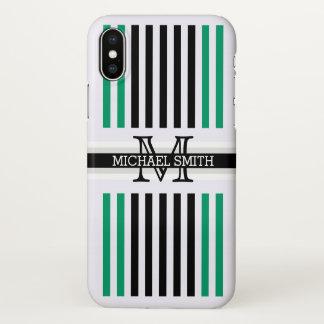 Monogram Modern Black Green-cyan Stripes Pattern iPhone X Case