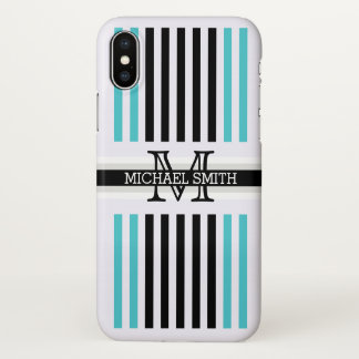 Monogram Modern Black Sea Serpent Stripes Pattern iPhone X Case