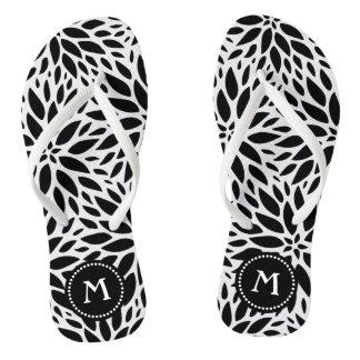 Monogram Modern Black & White Dahlias Flip Flops