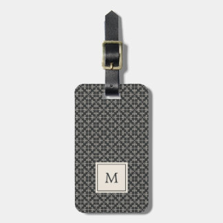 Monogram | Modern Coal and Cream Pattern Luggage Tag
