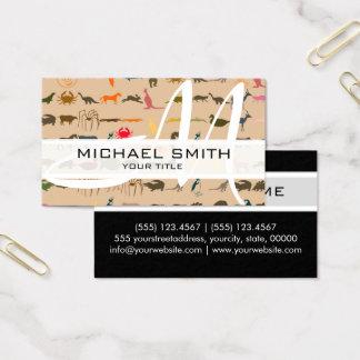 Monogram Modern Colourful Animals Pattern #2 Business Card