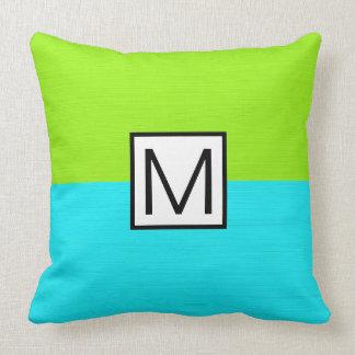 Monogram Modern Cyan and Lime Elegant Cushion