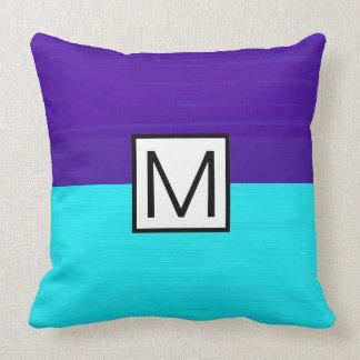 Monogram Modern Cyan and Purple Elegant Cushion