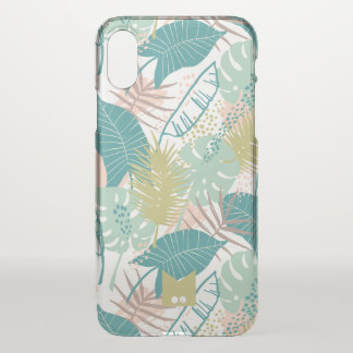 Monogram. Modern Exotic Tropical Palm Pattern iPhone X Case