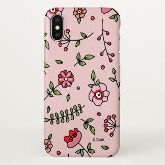 Monogram. Modern Floral. Spring Flowers. iPhone X Case