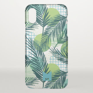 Monogram. Modern Geometric Tropical Palm Pattern iPhone X Case