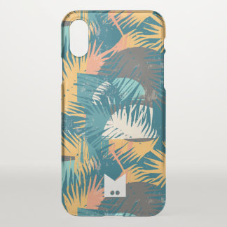 Monogram. Modern Grunge Tropical Palm Pattern iPhone X Case