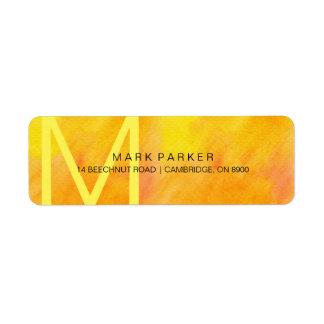 Monogram Modern Minimalist Orange Watercolor Label Return Address Label