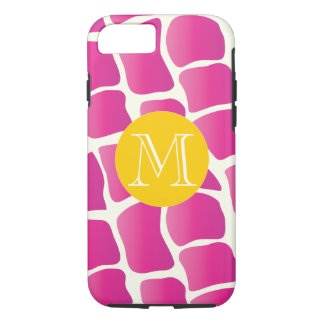 Monogram Modern Pink and Ivory Giraffe Pattern iPhone 7 Case
