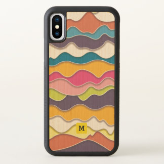 Monogram. Modern Pop Art Abstract Waves Pattern. iPhone X Case