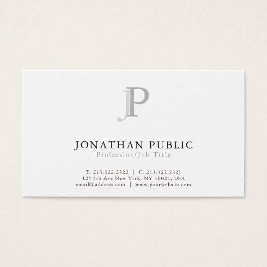Monogram Modern Professional Elegant White Business Card