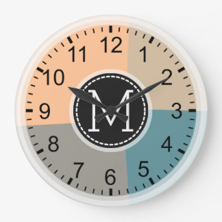 Monogram Modern Retro Colors Geometric #2 Large Clock