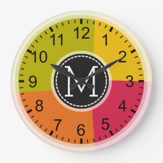 Monogram Modern Retro Colors Geometric Large Clock