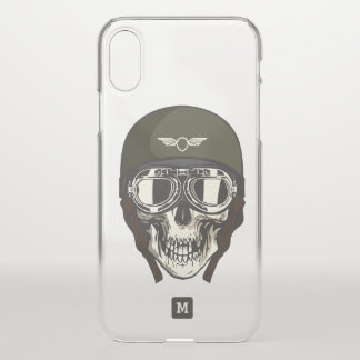 Monogram. Modern Skull with Green Military Helmet. iPhone X Case