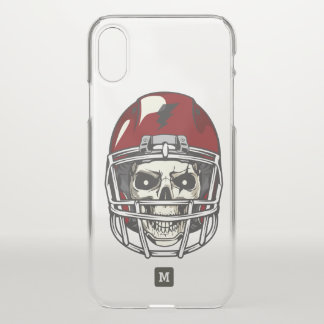 Monogram. Modern Skull with Red Football Helmet. iPhone X Case