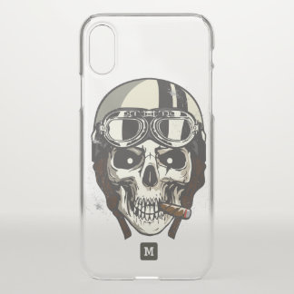 Monogram. Modern Skull with White Biker Helmet. iPhone X Case