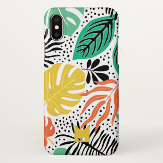Monogram. Modern Tropical Palm Pattern iPhone X Case