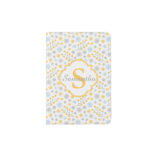 Monogram Modern Yellow Blue & Grey Passport Holder