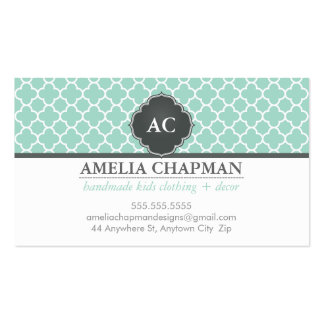 MONOGRAM morrocan tile pattern mint green grey Pack Of Standard Business Cards