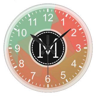 Monogram Mosaic Modern Pop Colorful #2 Large Clock